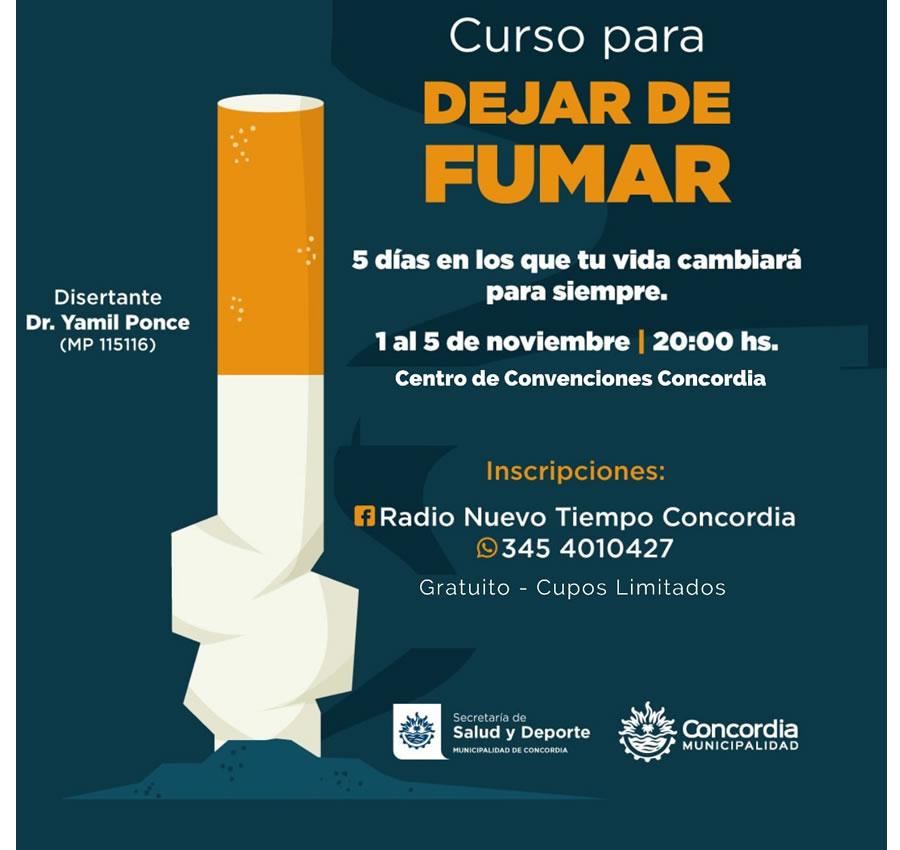 """INSCRIPCIONES ABIERTAS PARA EL CURSO GRATUITO """"CINCO DÍAS PARA DEJAR DE FUMAR"""""""